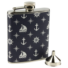 Nautical-Patterned Hip Flask