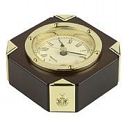 Compass or Clock Paperweights with Gold-Plated Corners