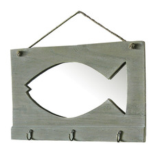 Mirror with Fish Detail and Hooks