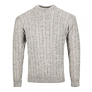 Balmoral Cable Crew-neck Sweater, Oatmeal, small