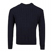 Balmoral Cable Crew-neck Sweater, Navy, small