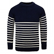 Breton Crew Sweater 100% Wool, Navy
