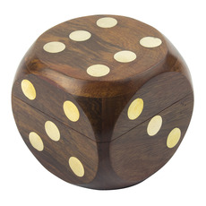 Wooden Dice Box with Dice