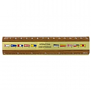 Pennants Brass & Teak Ruler 15cm