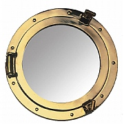 Round 11in. Brass Porthole Mirror
