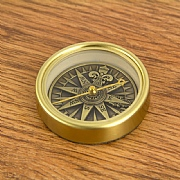 Compass Rose in Antique Brass