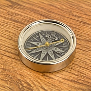 Compass Rose in Antique Silver