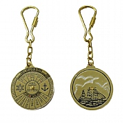 Brass 40-year Calendar Keyring with Ship on Back