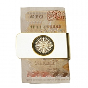 Gold-plated Money Clip with Compass Rose Detailing