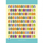 English Rows Beach Hut Tea Towel