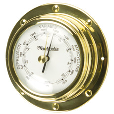 Rivet-style Clock and Barometer in Spun Brass