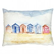 Coastal Cushion with Beach Huts