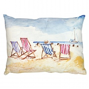 Coastal Cushion with Deck Chairs