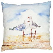 Square Coastal Cushion with Seagulls