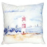 Square Coastal Cushion with Lighthouse