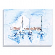 Coastal Canvas Print with Yachts by Jennifer Rose