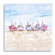 Coastal Canvas Print with Trawlers by Jennifer Rose