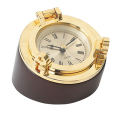 Porthole clock paperweight
