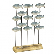 Shoal of Metal Fish on Display Stand