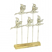 Flying Seabirds on Wooden Stand