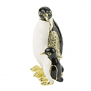 Jewelled Penguin & Chick Trinket Box