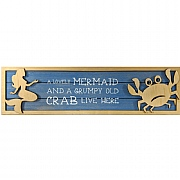 Mermaid & Crab Wooden Sign
