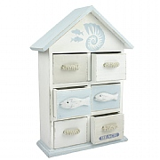 Wooden Six Drawer Beach Hut Cabinet