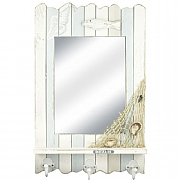 Wooden Mirror with Shelf & Hooks