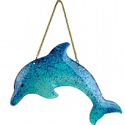 Glass Dolphin wall Décor, blue