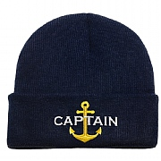 Knitted Beanie Hat 'Captain' with Anchor