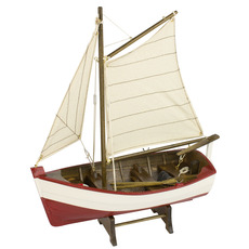 Cream and Red Sailing Dinghy