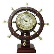 Brass 'Helmsman' Rotating Ship's Wheel Clock
