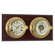 Riviera Clock & Barometer Set in Brass