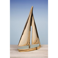 12.5in. Ornamental Yacht Sculpture in Solid Brass