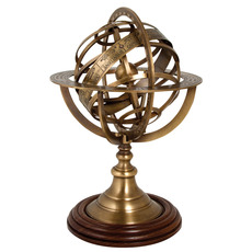 Armillary Sphere in Antique Brass with Polished Wooden Base