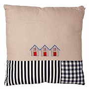 Square Cushion with Beach Huts Design