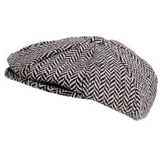 Traditional Herringbone Eight-Piece Baker Boy Hat