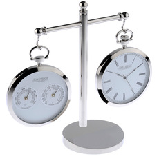 Chrome-Plated Hygrometer and Swiss Quartz Pocket Watch with Stand