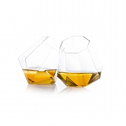 'Scotch in the Rocks' Diamond Shaped Whisky Glasses Set of 2