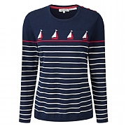 Tulchan Boat-detailed Striped Jumper in 100% Cotton
