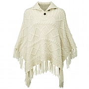 Button-Neck Poncho - Hand Knitted