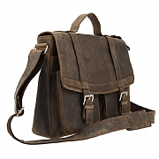 Leather Satchel with Buckles