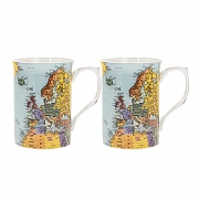 Set of Two World Traveller Mugs