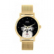 Grey Miniature Schnauzer 38mm Black Dial Head Dog Watch