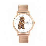 Brown Cockapoo Dog 38mm White Dial Watch