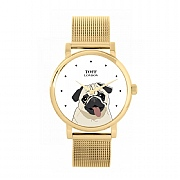 Beige Pug Head Dog Watch 38mm White Dial Watch