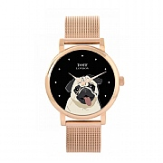 Beige Pug Head Dog Watch 38mm Black Dial Watch