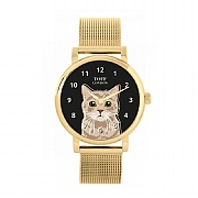 Beige Tabby Cat Head 38mm Gold Dial Watch