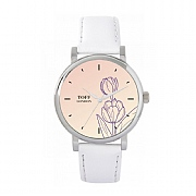 Ladies 38mm Purple Tulip Flower Watch